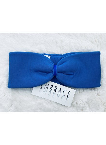 "Embrace ""Azzurro"" headband in loop-look with royal blu velvet ribbon"