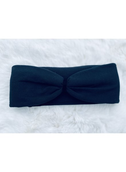 "Embrace ""Black"" headband in loop-look draped with black velvet ribbon"