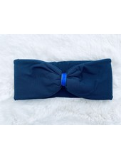 "Embrace ""Blu"" headband in loop-look draped with royal-blu velvet ribbon"