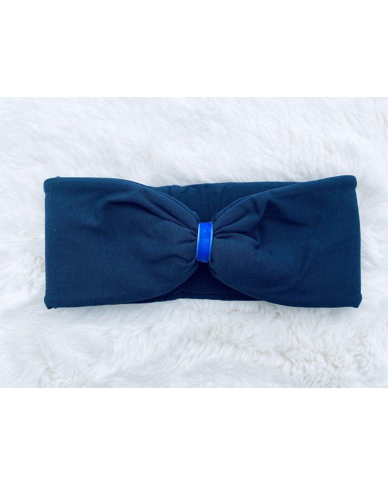 """Embrace Kopfband """"Blu"""" in Schleifen Optik drapiert mit bönigsblauen Samtband"""