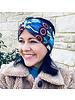 """Embrace Kopfband """"Pavone blu""""  in Schleifenoptik mit hellblauen Samtband"""