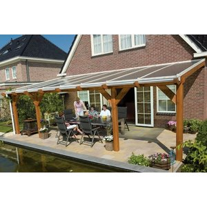 White Polycarbonaat dak opbouw compleet 5,0m breed x 4,5m diep helder of opaal