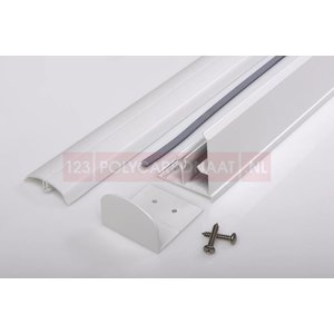 Pergolux White Zijprofiel wit compleet met PVC clips