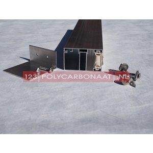 Pergolux Zijprofiel aluminium compleet met afdeklijst