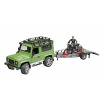 Land Rover Bruder Land Rover Defender Station Wagon, trailer, Scrambler Ducati Cafe Racer en bestuurder 1:16