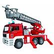 MAN brandweer ladderwagen en waterpomp van Bruder