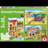 Puzzle à la ferme 3x24 pièces
