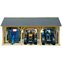 Kids Globe Hangar en bois pour 3 tracteurs 1:16