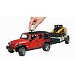 Bruder Jeep Wranger Unlimited Rubicon met trailer en bobcat
