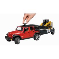 Jeep Bruder Jeep Wranger Unlimited Rubicon met trailer en bobcat