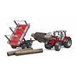 Bruder Massey Ferguson 7480 tractor met voorlader, houttransporter en 3 boomstammen