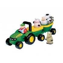 John Deere Britains Muzikale tractor met aanhanger en dieren