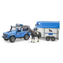 Land Rover Land Rover Defender politievoertuig, paardentrailer, paard + politieagent