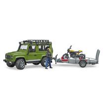 Land Rover Land Rover Defender remorque et Scrambler Ducati Full Throttle