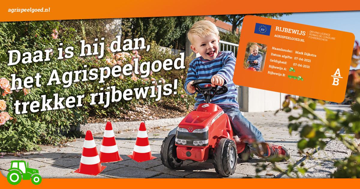 Het traptrekker rijbewijs van Agri Speelgoed!