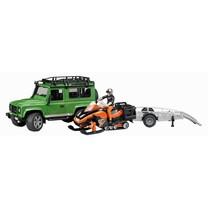 Land Rover Land Rover defender avec remorque, moto neige et conducteur 1:16
