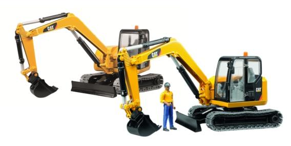 Nieuw speelgoed: de Bruder CAT mini graafmachine