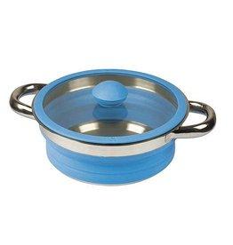 Bo-Camp Bo-Camp - Pan met deksel - Siliconen - Opvouwbaar - Blauw