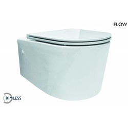Flow Rimless wandcloset 55 cm met Flatline Soft-Close zitting wit