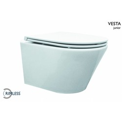 Vesta compact wandcloset 47 cm met Flatline Soft-Close zitting wit