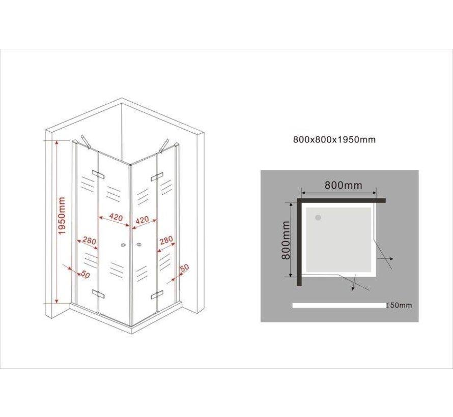 Carna douchecabine hoekinstap vierkant 80x80x195 cm