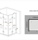 CARNA  douchecabine hoekinstap vierkant 120x120x195 cm