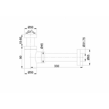 Caral design sifon laag model mat zwart