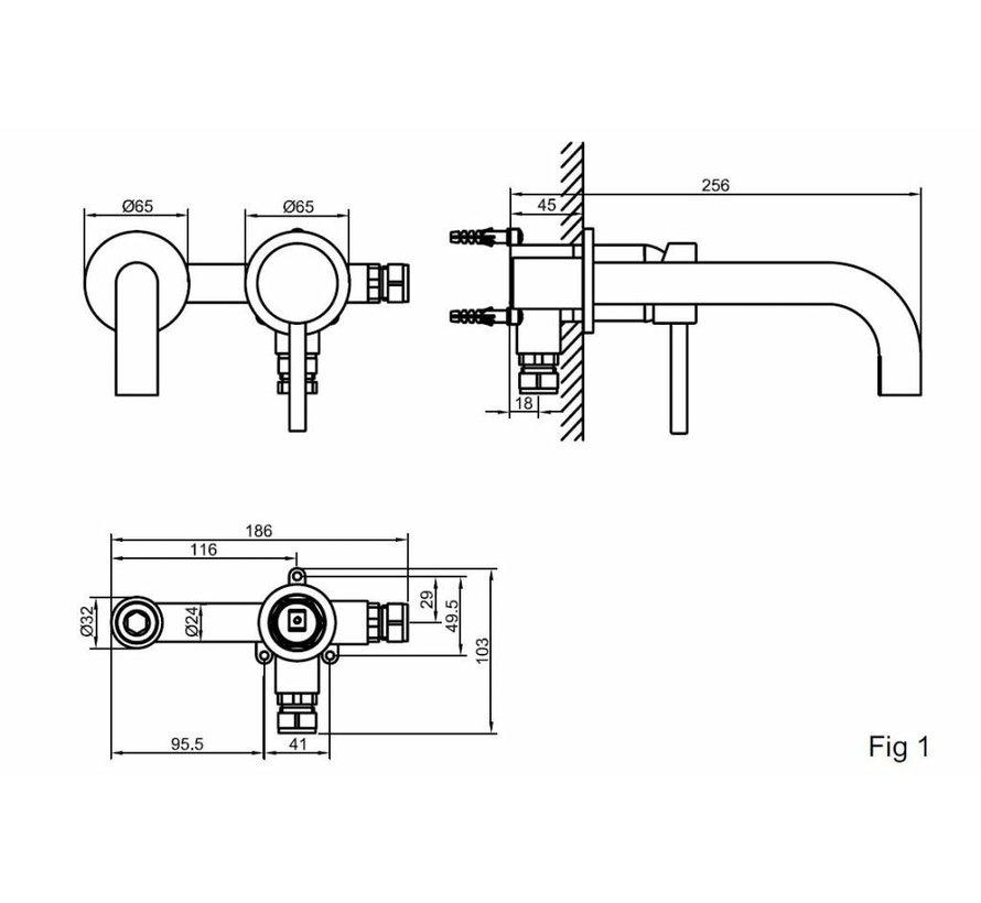 Caral 2.0 inbouw-wastafelmengkraan éénhendel mat zwart