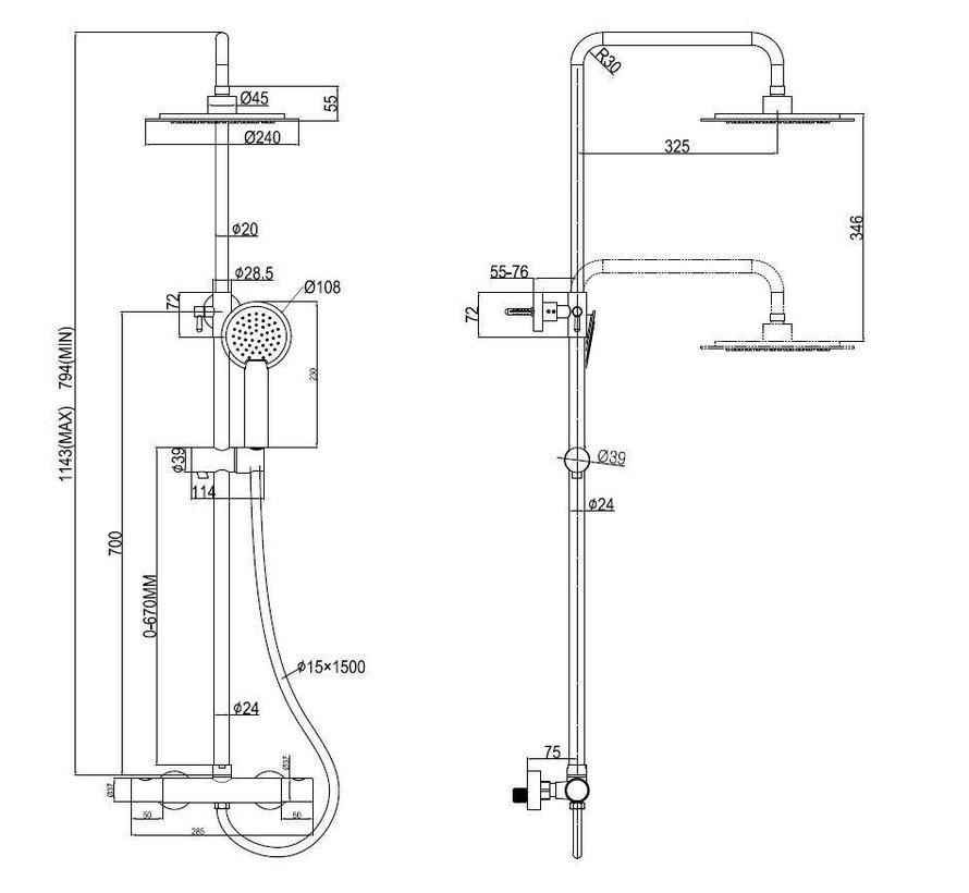 Rheiner XL regendouche set thermostaatkraan met 24 cm hoofddouche