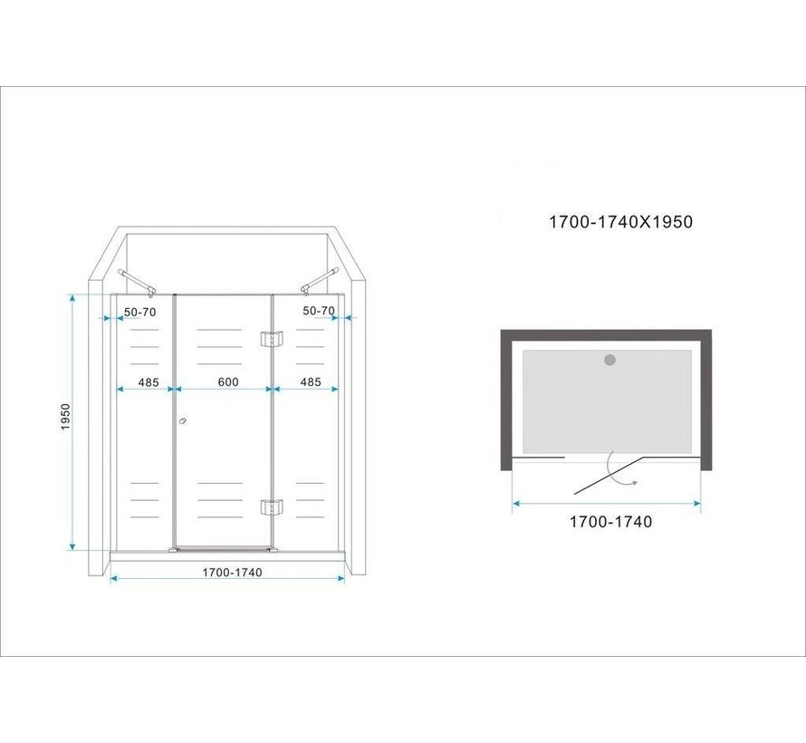 PELO XL Douchedeur 170x195 cm nisdeur - helder glas