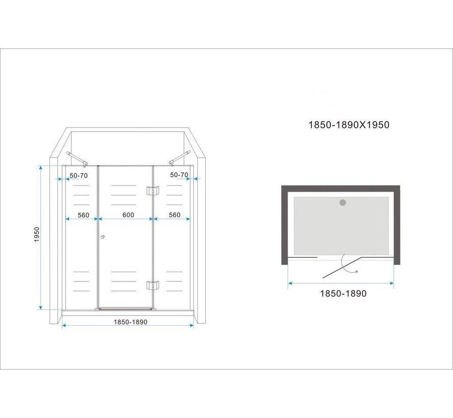 PELO XL Douchedeur 185x195 cm Nisdeur- helder glas