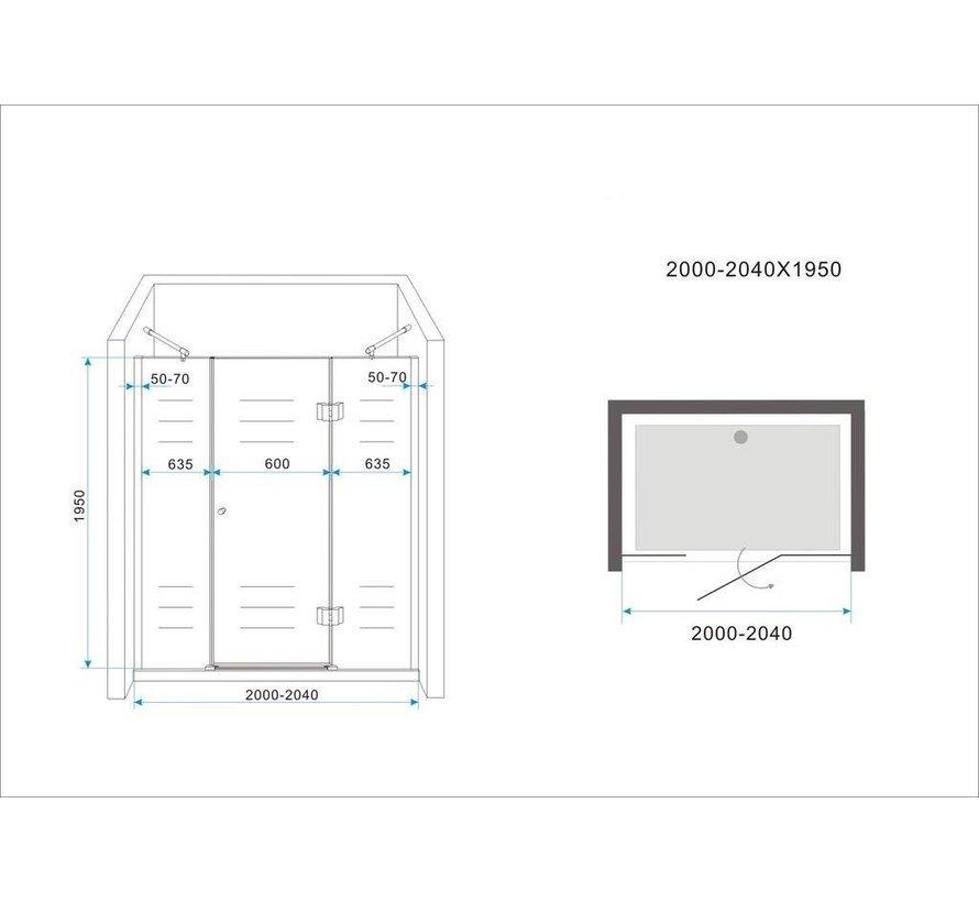 PELO XL Douchedeur 200x195 cm Nisdeur- helder glas