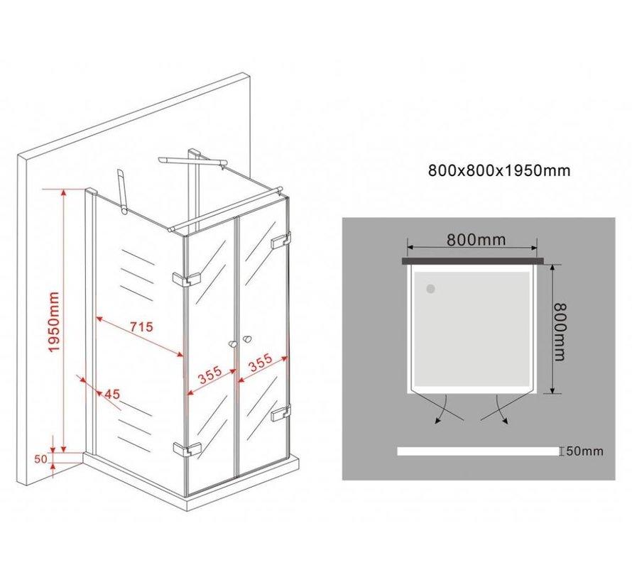 Rama U-vorm douchecabine met draaideuren 80x80x195 cm