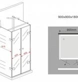 Douchecabine RAMA U-vorm met draaideuren 90x90x180