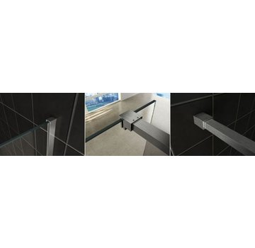 Slim profielset met stabilisatiestang 120cm geborsteld staal