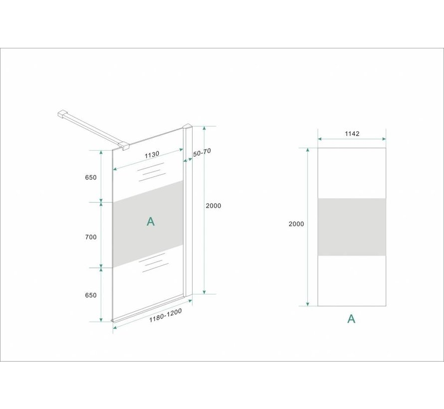 Aqua-Frosted Inloopdouche gedeeltelijk matglas 120-122x200 cm