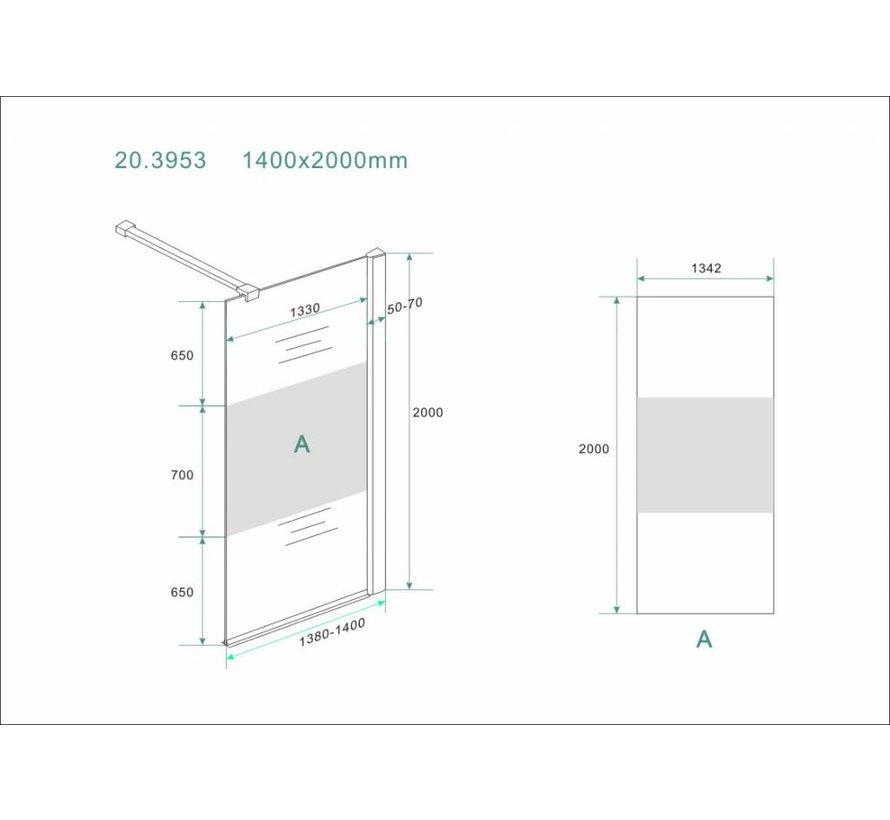 Aqua-Frosted Inloopdouche gedeeltelijk matglas 140-142x200 cm