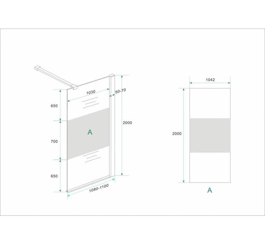 Aqua-Frosted Inloopdouche gedeeltelijk matglas 110-112x200 cm
