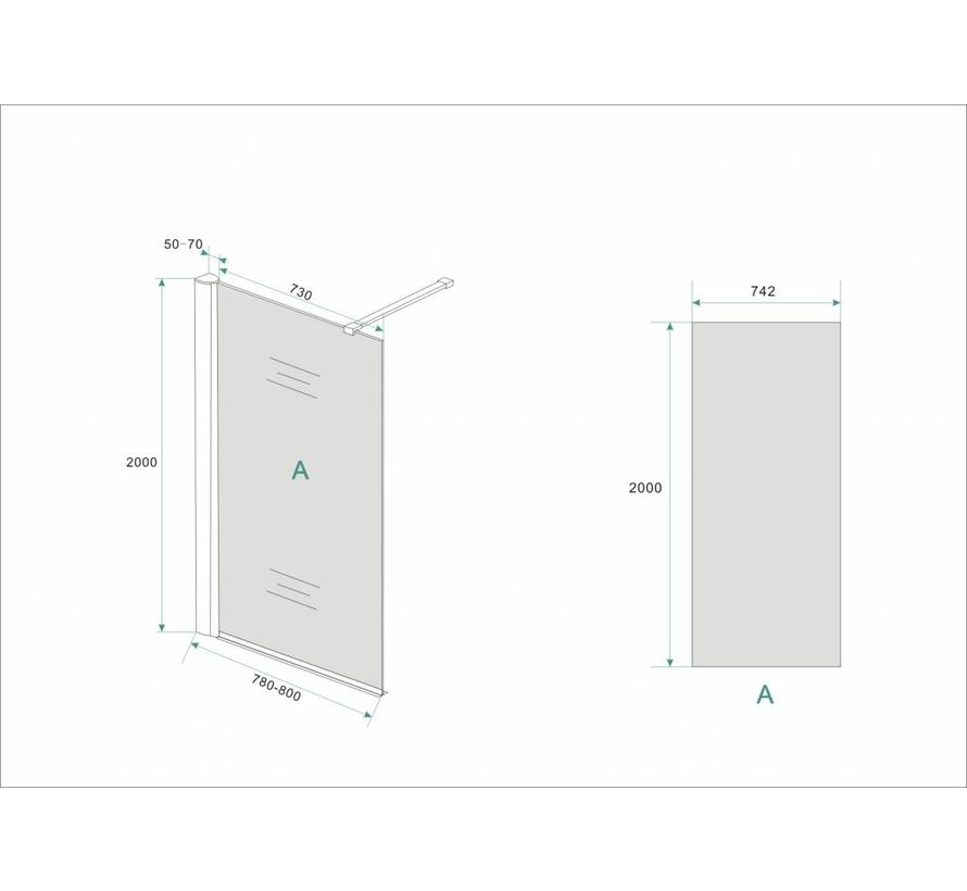 Aqua-DarkInloopdouche 80x200 cm 10 mm donker glas