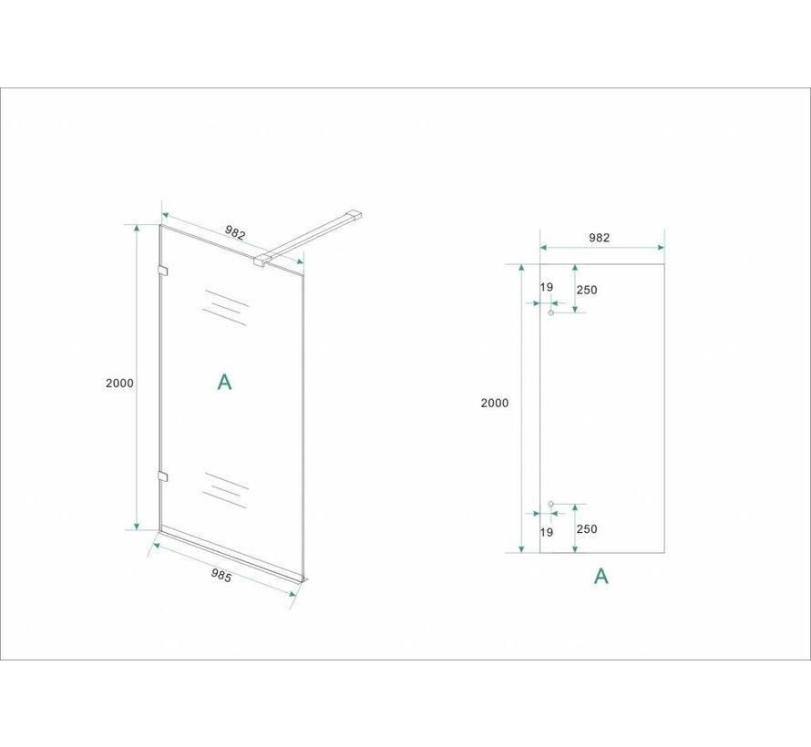 Aqua-LESS Inloopdouche profielloos design 100x200 cm