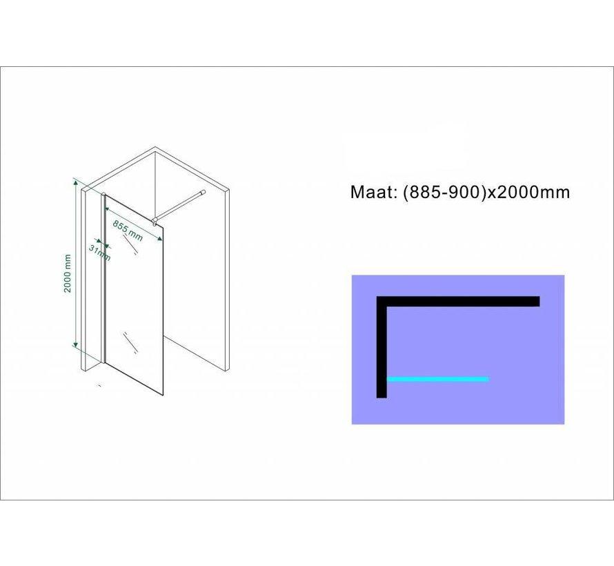 Aqua-Eco Inloopdouche 90x200 cm 8mm helder glas