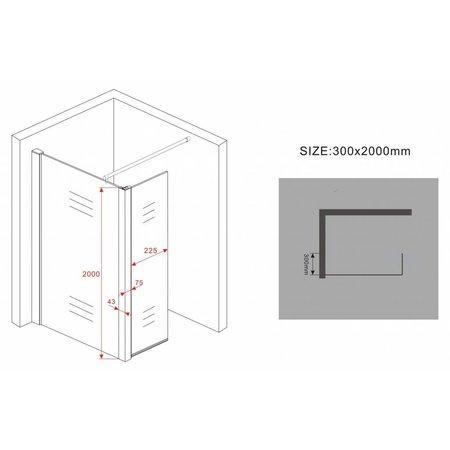 Inloopdouche AQUA-ECO 90x30x200 cm 8mm NANO + Zijwand
