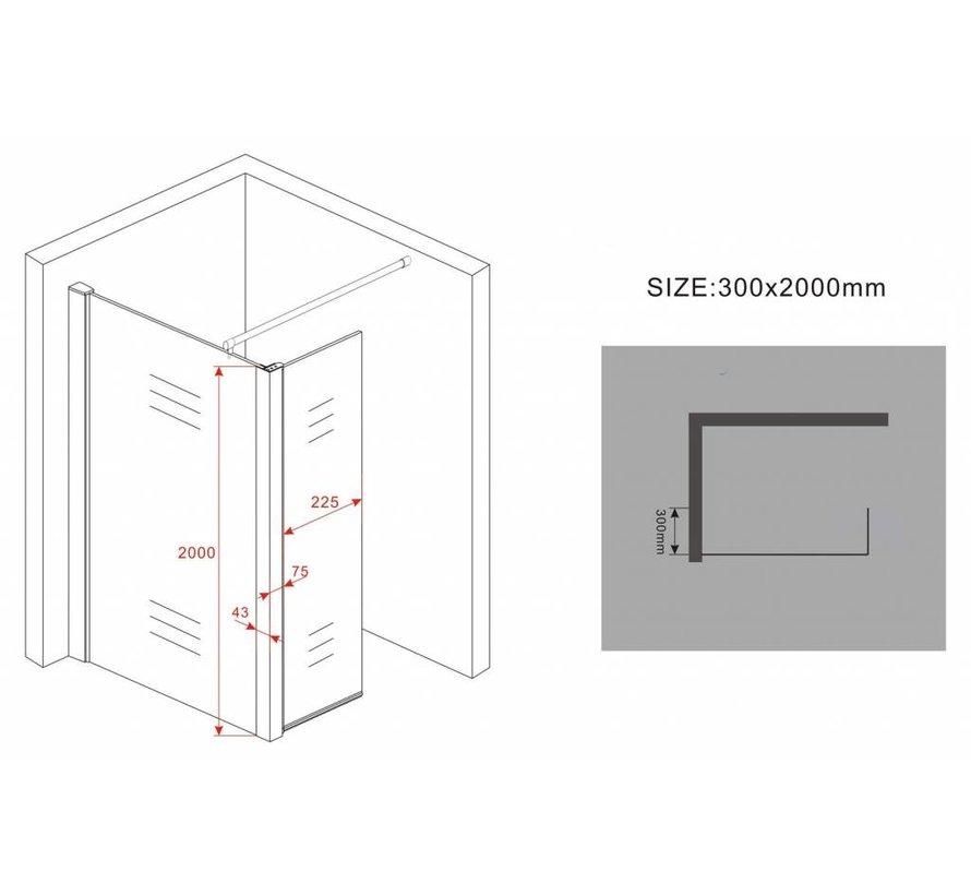Aqua-EcoInloopdouche met zijwand 90x30x200 cm helder glas