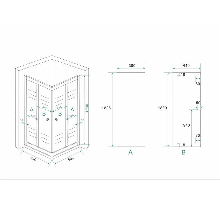 Eco douchecabine hoekinstap vierkant 90x90x190 cm