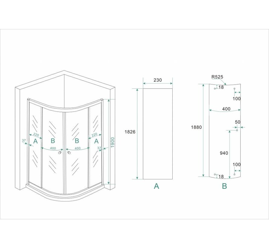 ECO douchecabine kwartrond 80x80x190 cm