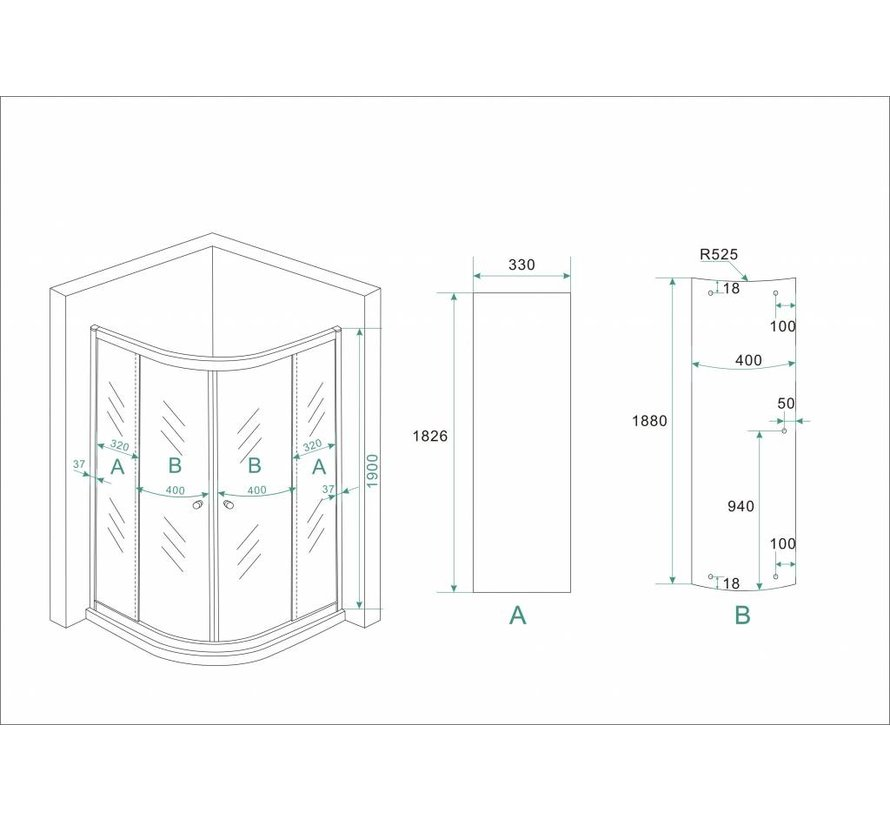 ECO douchecabine kwartrond 90x90x190 cm