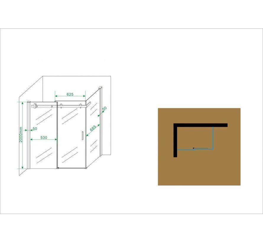 Block douchecabine zij instap met schuifdeur 120x80x200 cm