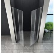 Swing douchedeur 110x195 cm met pendeldeuren – helder glas