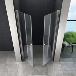 Swing douchedeur 80x195 cm met pendeldeuren – helder glas