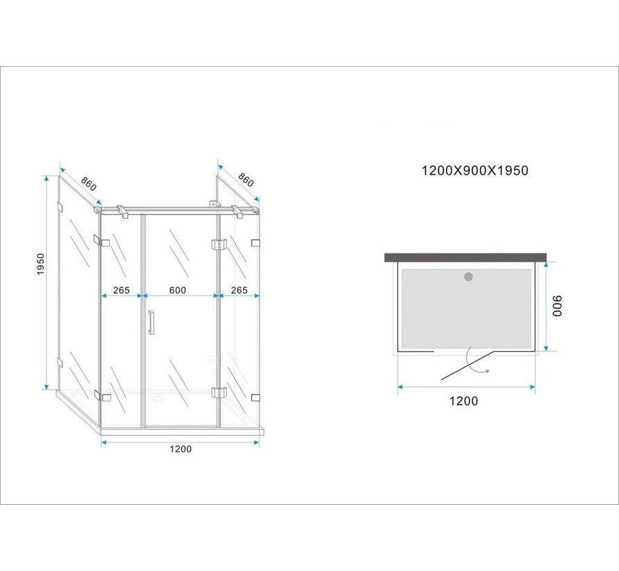 Douchecabine TARNA U-vorm met draaideur 120x90x195 cm